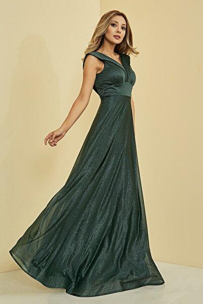 Sateen Kadın Zümrüt Simli Uzun Abiye Elbise