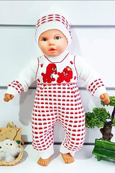 bebegen Triko Kırmızı Kazak Salopet Bere 3'lü Bebek Takımı