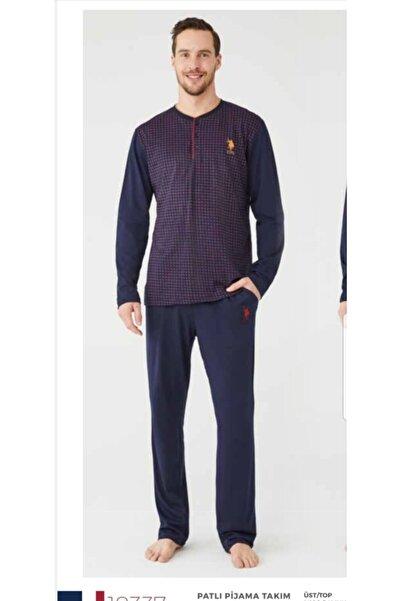 U.S. Polo Assn. Us Polo Assn Desenli Erkek Patlı Pijama Takımı 18337 Bordo