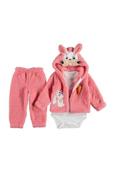 Rico Kız Bebek Pembe Kapüşonlu Tavşan 3'lü Takım
