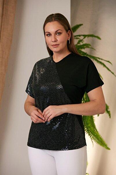 RMG Kadın Siyah Asimetrik Payetli  Büyük Beden Tshirt