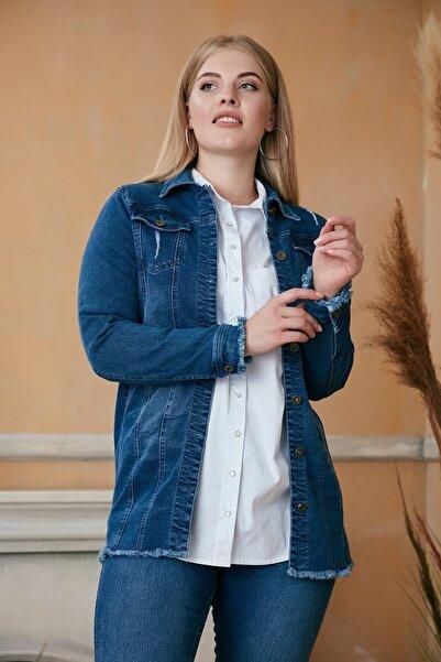 RMG Kadın Mavi Püskül Detaylı Uzun Kot Ceket