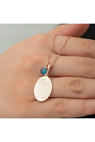 bodrum grup Gümüş Plaka Oval Ayetel Kürsi Kolye Kadın Gümüş Kolye