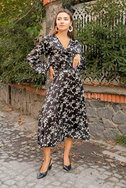 Miss Selens Kadın Siyah Çiçek Desenli Saten Elbise