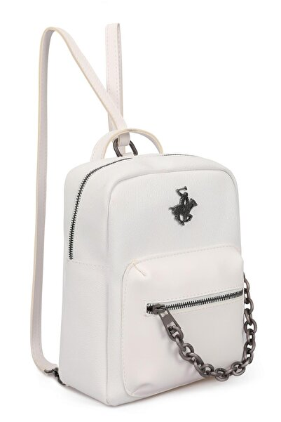 Beverly Hills Polo Club Kadın Zincir Detaylı Sırt Çantası Beyaz