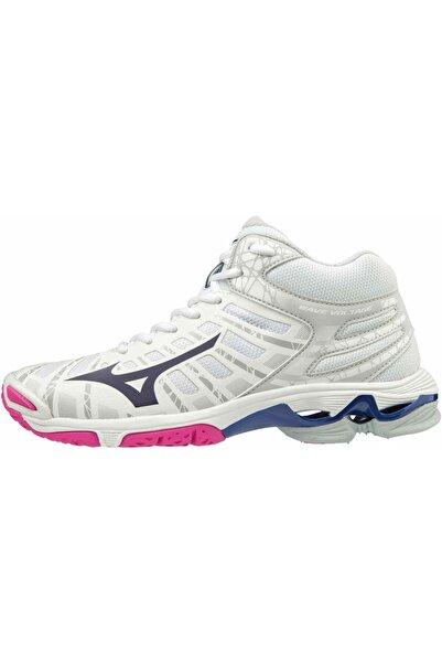 MIZUNO Wave Voltage Mid Kadın Voleybol Ayakkabısı Beyaz/pembe