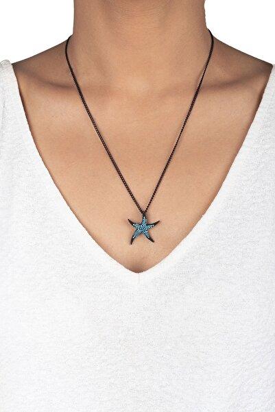 Jineps Deniz Yıldızı Zirkon Taş Kolye Siyah Renk 50 Cm Pirinç