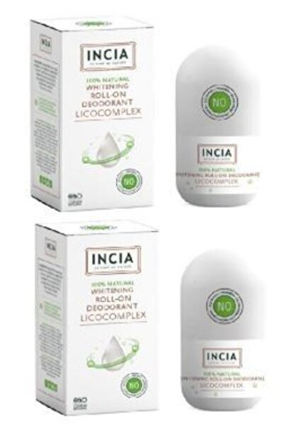 Incia Natural Whitening Beyazlatıcı Kompleks Doğal Roll-On Deodorant 50 ml X2 Adet