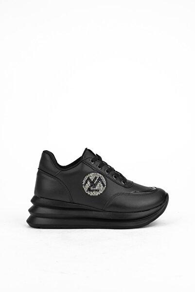Ziya Kadın Siyah Suni Deri Spor  Ayakkabı 103415 Z333006