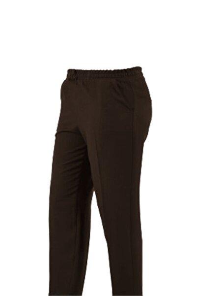 LİLAS XXL Kadın Kahverengi Beli Lastikli Önü Çimalı Kumaş Pantolon