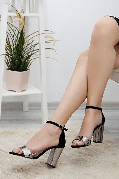 Haydigiy 9cm Aynalı Topuklu Ayakkabı Siyahplatin - 3903.264.