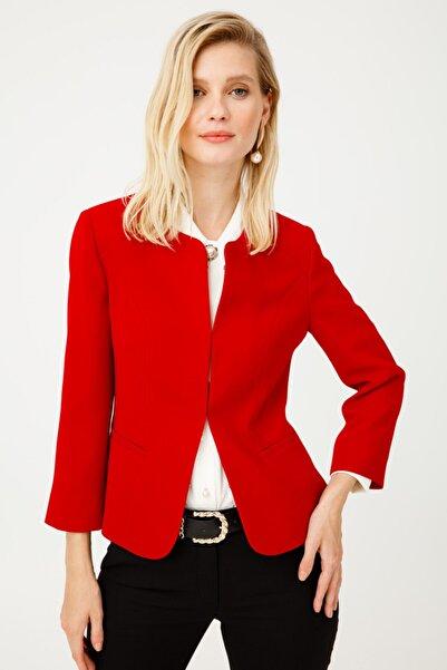 Ekol Kadın  Kırmızı Oval Yaka Ceket