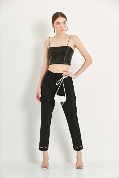 Say Kadın Siyah Paçası Şeritli Double Paça Pantolon