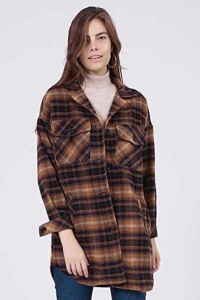 Y-London Kadın Sarı Ekoseli Uzun Oduncu Gömlek Ceket Y20W176-11228-1