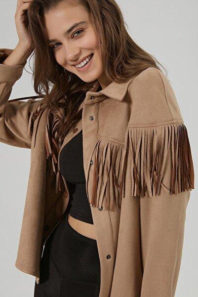 Y-London Kadın Bej Püsküllü Süet Gömlek Ceket Y20W180-6575