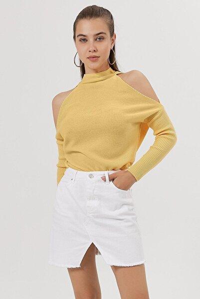Y-London Kadın Sarı Omzu Açık Triko Kazak Y20W186-4003
