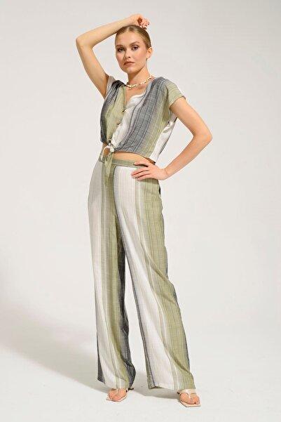 Batik Kadın Haki  Cızgılı Casual Pantolon Y42732 Dkm