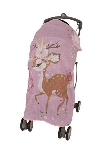 Sevi Bebe Pembe Ceylan Pano Baskılı Müslin Bebek Arabası Örtüsü Art-315