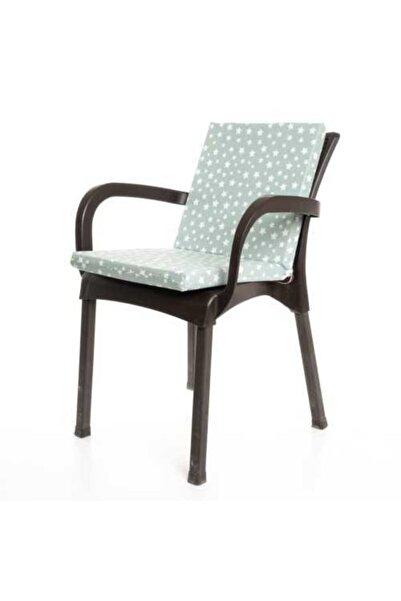 MERTİM Mint Yeşili Yıldız Desenli Sandalye Minderi 1 Adet
