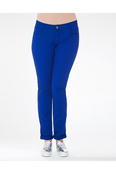 GEBE Kadın Saks Mavi Como Büyük Beden Pantolon