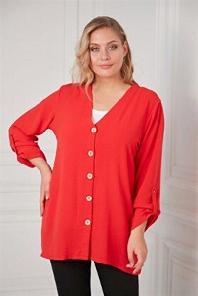 RMG Kadın Mercan Düğme Detaylı Büyük Beden Gömlek