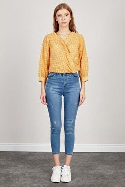 Kadın Mavi Yüksek Bel Dar Paça Pantolon