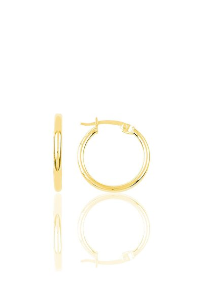 Söğütlü Silver Gümüş Altın Rengi 19 Mm Şarnel Halka Küpe