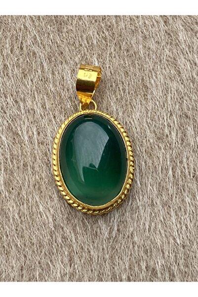 Bayar Gold 14 Ayar Altın Yeşil Akik Taşlı Oval Kolye Ucu