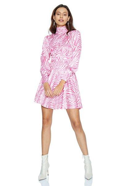 Keikei Kadın Pembe Saten Uzun Kol Orta Boy Elbise Desenv41