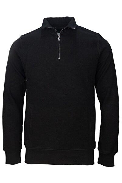 Fimerang Erkek Siyah Selanik Yandan Cepli Yarım Fermuarlı Sweatshirt