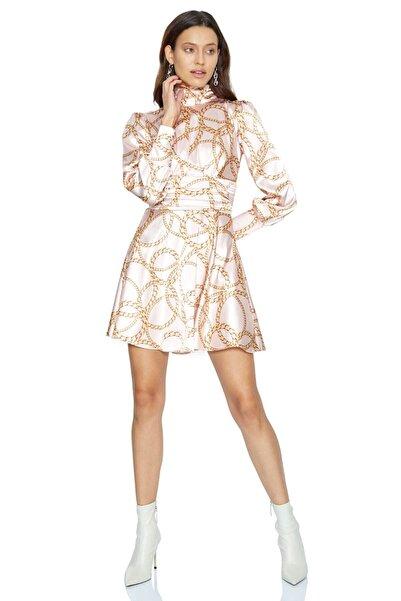 Keikei Kadın Pudra Desenv37 Saten Uzun Kol Orta Boy Elbise