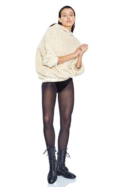 Keikei Kadın Bej Teddy Bear Uzun Kol Sweatshirt