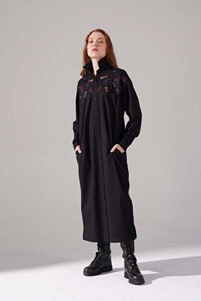 Mizalle Kadın Siyah Renkli Işleme Detaylı Elbise