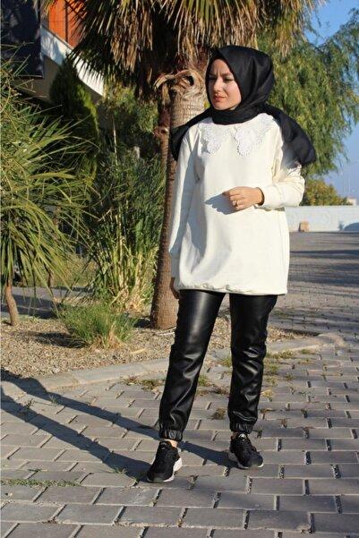 BSL Kadın Siyah Bel ve Paça Lastik Detaylı Suni Deri Jogger Pantolon