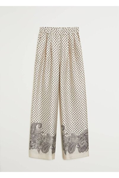 MANGO Woman Kadın Ekrü Pantolon 67029220