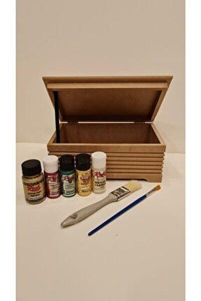 Ahşap Boyama Seti Mdf Kutu Boyanabilir (Karışık Renkler Ve Yumuşak Fırçalar )