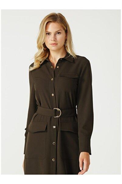Fabrika Kadın Haki Yanı Yırtmaçlı Elbise