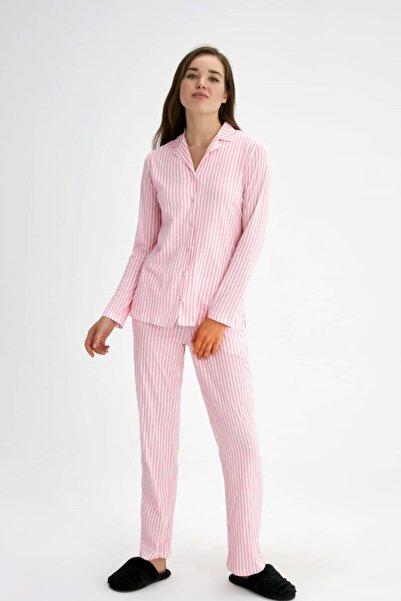 Eros Pijama %100 Pamuklu Önden Düğmeli Pembe Çizgili Kadın Pijama Takımı (özel Kutusunda)