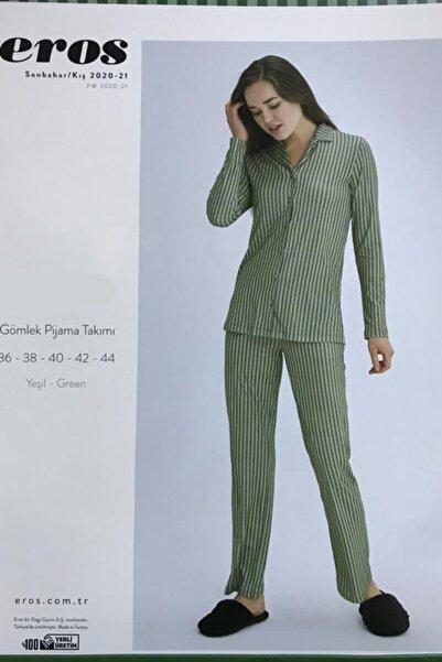 Eros Pijama %100 Pamuklu Önden Düğmeli Yeşil Çizgili Kadın Pijama Takımı (özel Kutusunda)