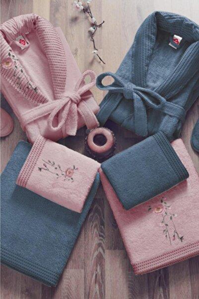 Cotton Box Gül Kurusu Mavi 3d Nakışlı Bambu Aile Bornoz Seti