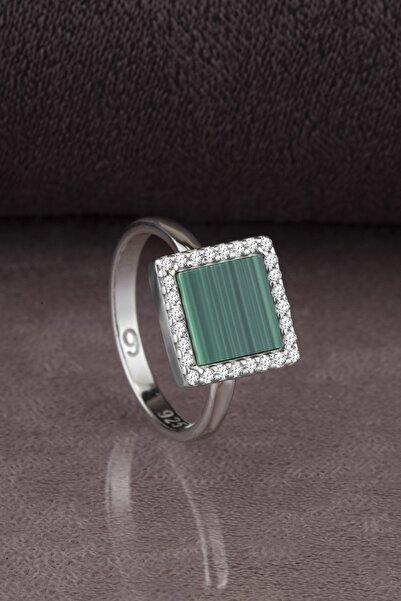 Else Silver Kadın Yeşil Akik Taşlı Gümüş Yüzük