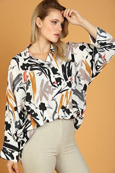 GHADA Kadın Siyah Çiçek Desenli Gömlek 17057