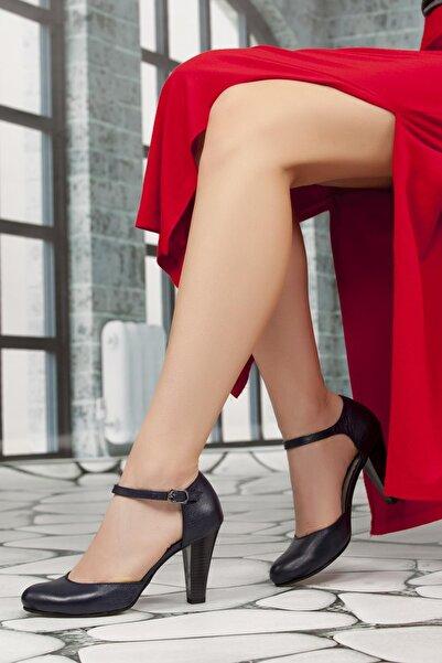 Deripabuc Kadın Lacivert Hakiki Deri Topuklu Deri Ayakkabı SHN-0113
