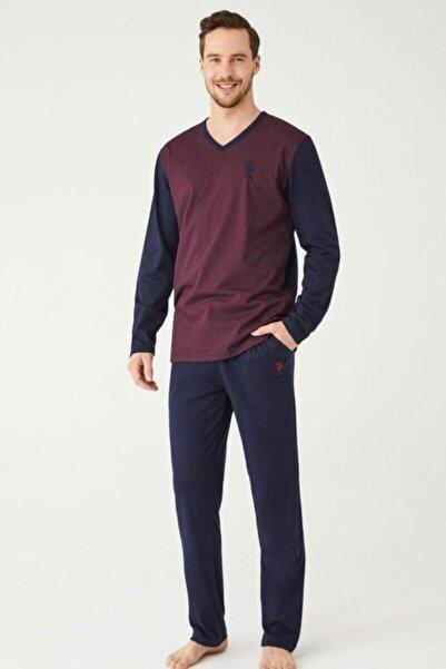 U.S POLO Erkek Bordo Pijama Takım 18340