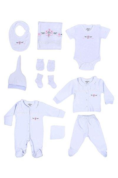 Aziz Bebe Kız Bebek Beyaz Dantelli Pamuklu 10'lu Yenidoğan Hastane Çıkış Seti 10230