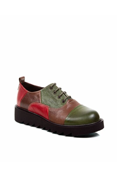 Re Beta Shoes Kadın Deri Yeşil Kombin Ayakkabı