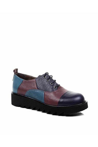 Re Beta Shoes Kadın Deri Mor Kombin Ayakkabı