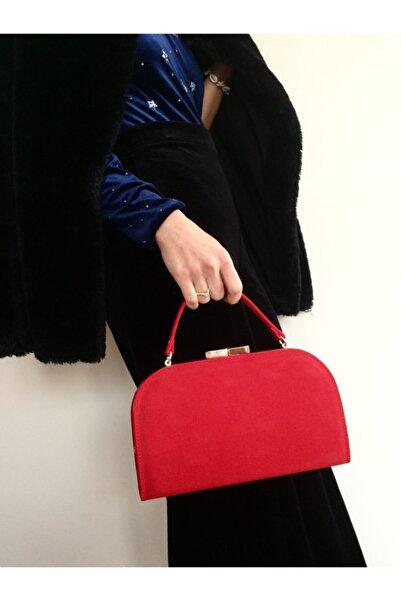 Abiye Butik Çanta Kadın Kırmızı Süet Silindir Model Abiye Çanta