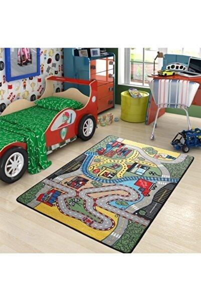 Confetti Race Çocuk Odası Anaokulu Araba Yarışı Oyun Halısı 133x190
