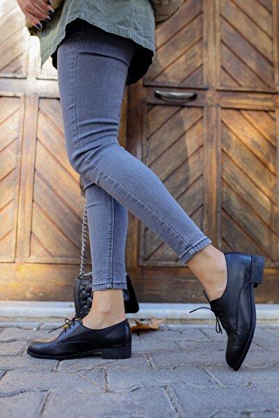 maxvella Kadın Siyah Hakiki Deri Klasik Ayakkabı